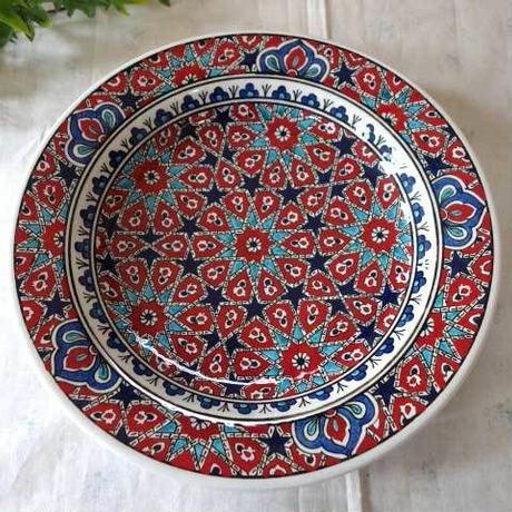 tkp30-a1  ★繊細な手描きのトルコ・キュタフヤ陶器(プレート30cm)