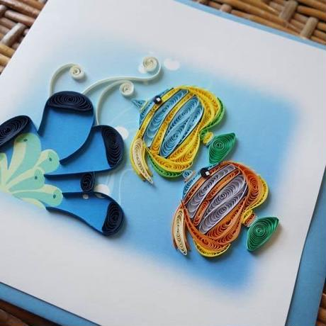 pc41    ★立体的なデザインがかわいい!ベトナムペーパークイリングカード(海)