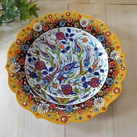 tkp30-a3  ★繊細な手描きのトルコ・キュタフヤ陶器(プレート30cm)