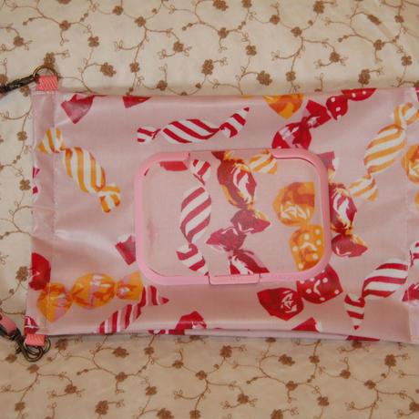 ウエットティッシュケース キャンディ柄 ピンク