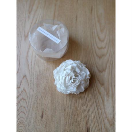 麻の布花コサージュL(白)