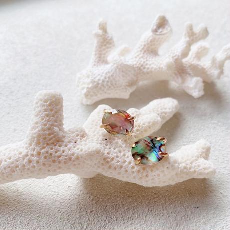 14KGF Abalone Shell & Crystal Studs Earrings タイプB