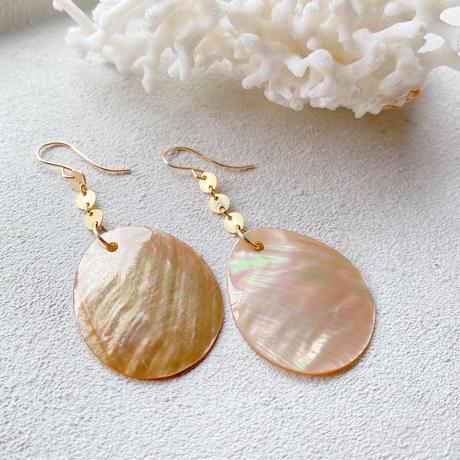 14KGF Shinny Pink Beige Shell Earrings -Large Size-