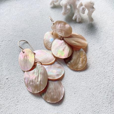 14KGF Shinny Pink Beige Shell Scaled  Earrings