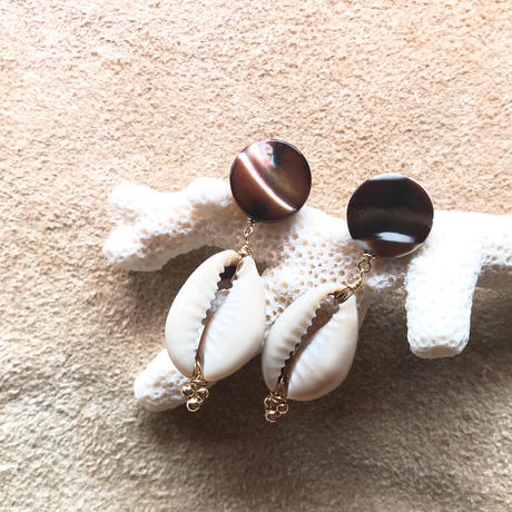 14KGF Cowrie Shell & Brown Shell Short Earrings