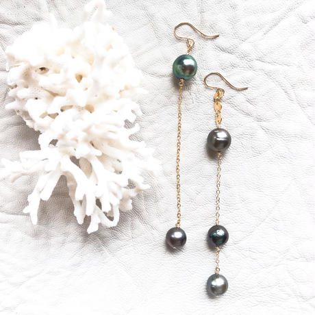 14KGF Tahitian Pearl Asymmetry Earrings