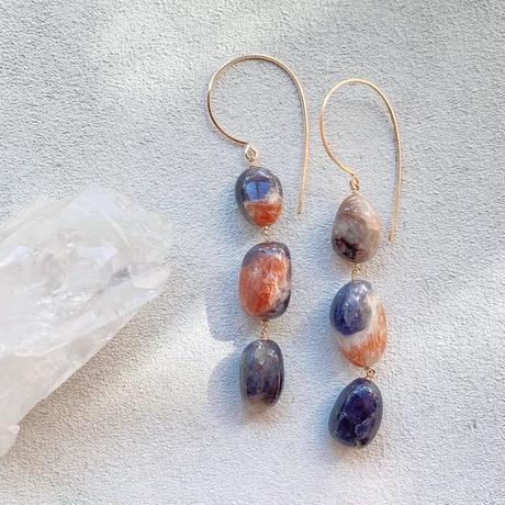 14KGF  Iolite & Sun Stone Mixed  Flowing Hook Earrings