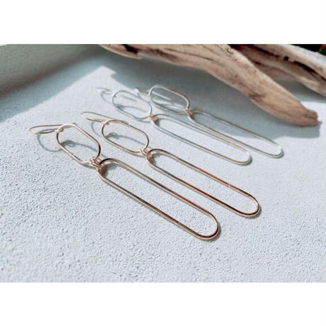 14KGF  Oval Rings Connected Earrings
