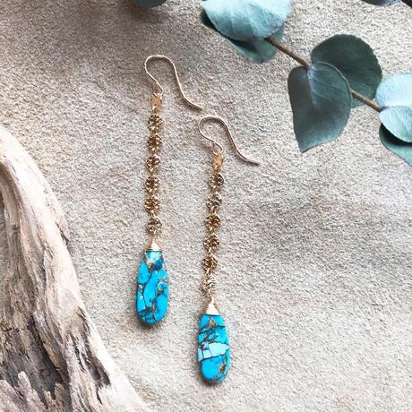 14KGF Copper Turquoise Line Earrings