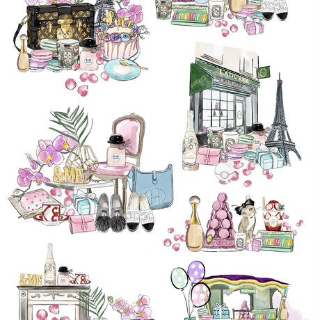 オーブンポーセ170度焼成用転写紙 life in Paris