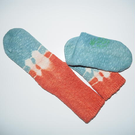 Hemp Cotton Socks(水色×朱色)