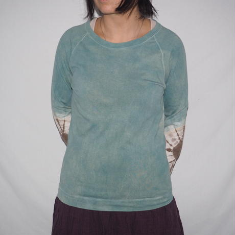 Raglan T-shirts Long Sleeve(水色×鶯茶色)