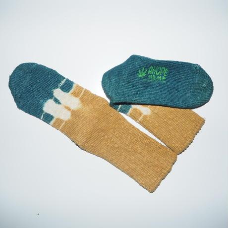 Hemp Cotton Socks(青緑×黄色)