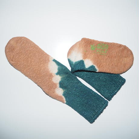 Hemp Cotton Socks(青緑×浅緋色)