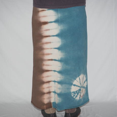 SWEAT MAXI SKIRT(露草色×茶色)