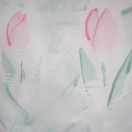 ハンカチ  SE-H-ペールグリーンチューリップ handprinted
