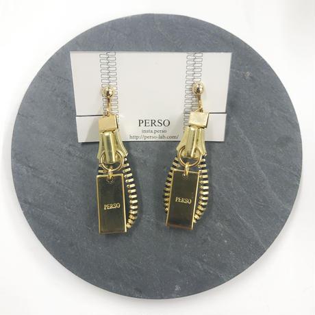 PERSO / ジッパーイヤリング ゴールド