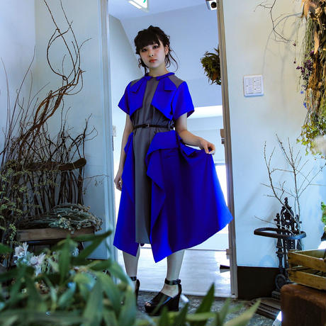 NICK NEEDLES  / Layer Dress / Gray×Blue