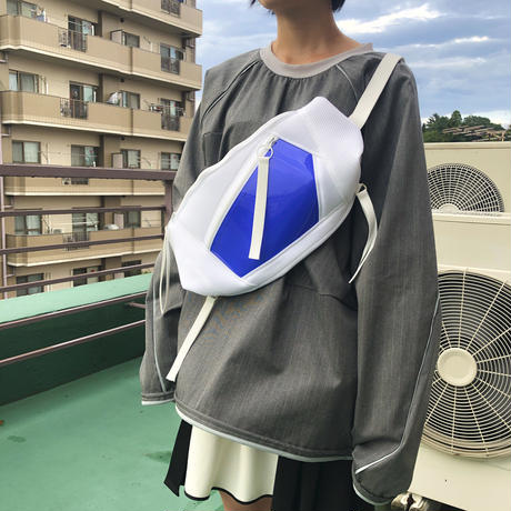 NICK NEEDLES / 2ZIP WASTE BAG / WHITE×BLUE