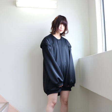 NICK NEEDLES / RIB DESIGN SWEAT /BLACK