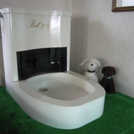 ペットの自動水洗トイレ
