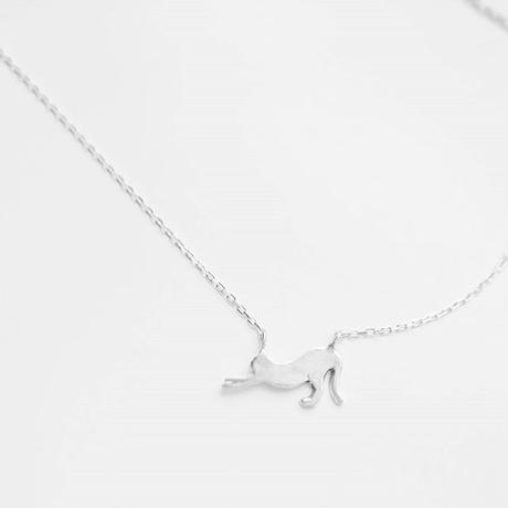 ネコシルエット ネックレス「のびのび」Cat silhouette necklace
