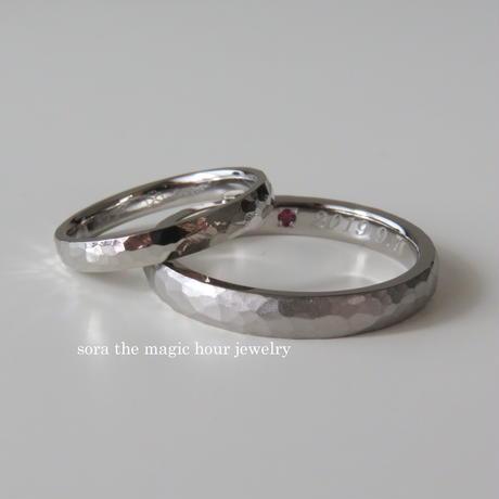 結婚指輪 鎚目ペアリング K18ホワイトゴールド 【受注生産】