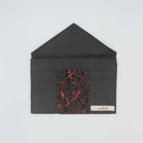 洗えるマスクケース│『Email message』souhalマスクケース│ブラック×レッドレース(品番:B79)【送料無料・代引き手数料無料】