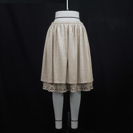 【上品な光沢感があるツイード】ローウエストギャザースカート (ベージュ)  I30