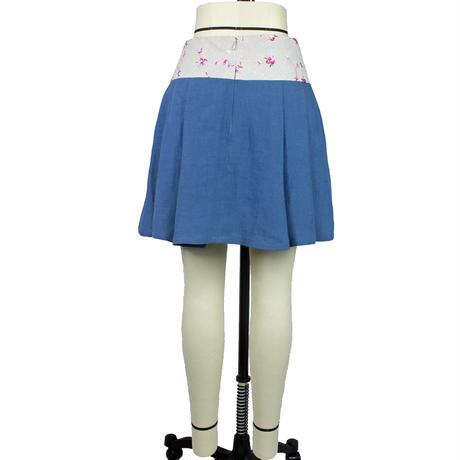 【帯ボトムスシリーズ】ヒップハングのソフトプリーツスカート 本体:ベルギーリネン (ブルー) D2 【送料・代引き手数料無料】