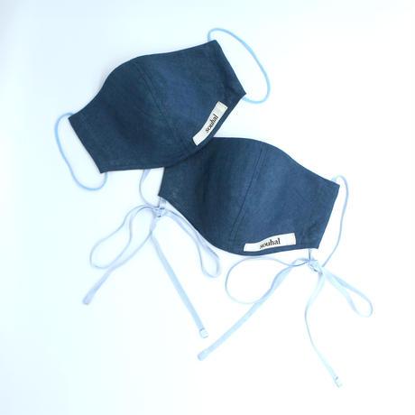 【2枚setマスク】souhal立体マスク 女性用 (ブルー×ベルギーリネン) 品番D75 【送料無料・代引き手数料無料(期間限定)】