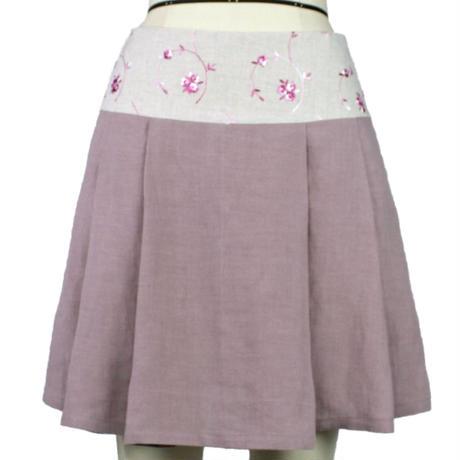 【帯ボトムスシリーズ】ヒップハングのソフトプリーツスカート 本体:ベルギーリネン (ピンク) H1