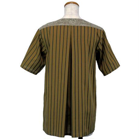 アシンメトリーノーカラーシャツ (マスタード)(G62) 【送料・代引き手数料無料】