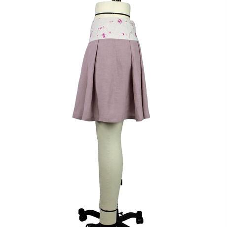 【帯ボトムスシリーズ】ヒップハングのソフトプリーツスカート 本体:ベルギーリネン (ピンク) H1 【送料・代引き手数料無料】
