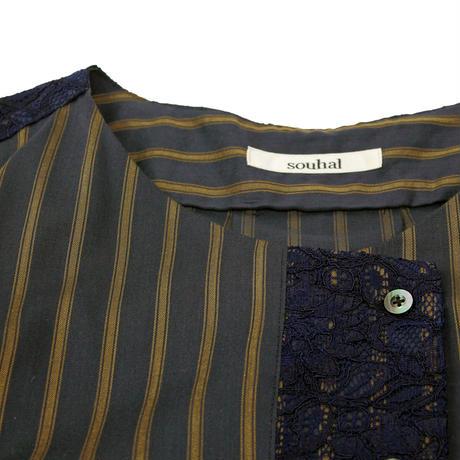 アシンメトリーノーカラーシャツ (ネイビー)(D64) 【送料・代引き手数料無料】