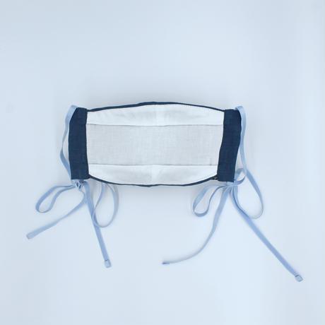 【2枚setマスク】souhalプリーツ風立体マスク 女性用 (ブルー×ベルギーリネン) 品番D78 【送料無料・代引き手数料無料(期間限定)】