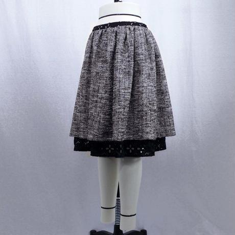 【シルバーラメ混リングニット】ローウエストギャザースカート (グレー)  J41