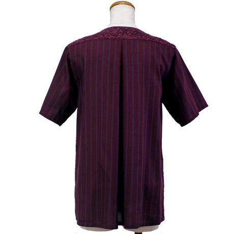 アシンメトリーノーカラーシャツ (ワイン)(C63) 【送料・代引き手数料無料】