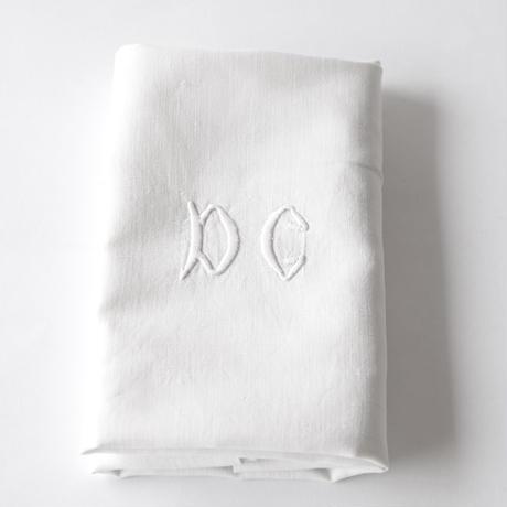 [DCモノグラム刺繍] リネン   (KC25)    1枚