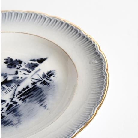 青い風景デザート皿  4種    (PL84)    1枚