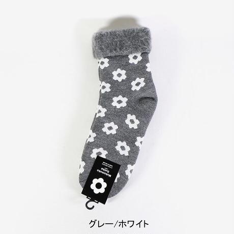 """CINQ(サンク)""""もこもこソックス(花柄)22.5~25.0cm"""""""