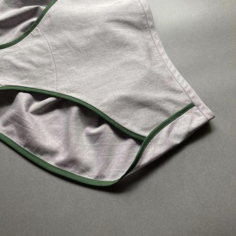 パープルシャンブレー×グリーン  Mサイズ
