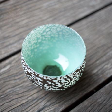 宮本崇輝 ガラス作品「カラー斑点おちょこ 緑」