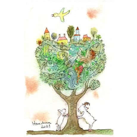 はんまけいこ「fish tree 小さな村がある」原画