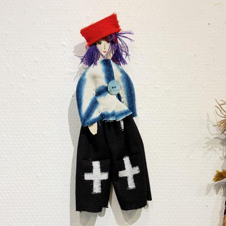 沢野弓子「麻の葉と十字」人形ブローチ
