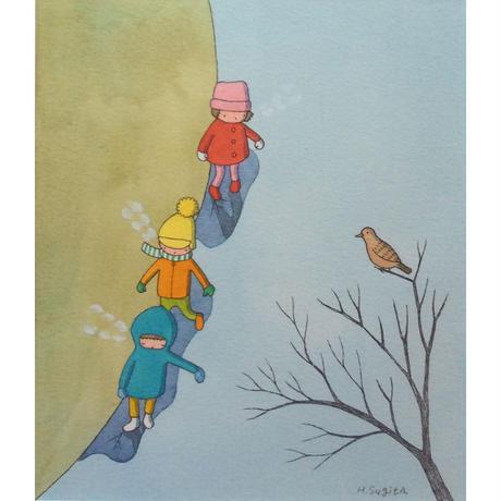 杉田比呂美「朝早く氷を踏む」原画作品