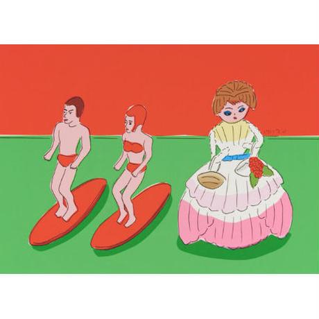 安西水丸「サーフィンとお人形」  mizumaru anzai