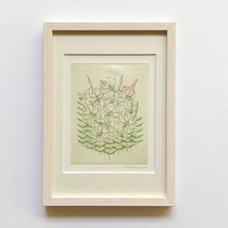 山田ミヤ「笹ゆりの白い花咲く隠りの山で、白い小鳥もかくれんぼ」