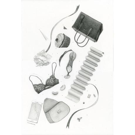 河井いづみ「心はバッグの中」  izumi kawai  原画