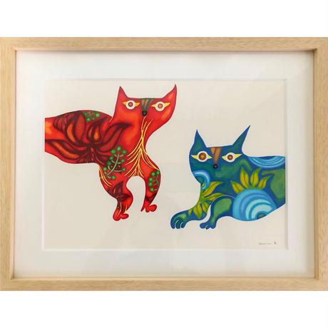 木村晴美「風猫・雷猫」原画